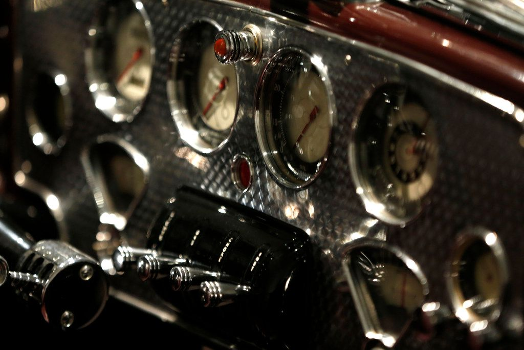 """The dashboard of the Cord 812 Supercharged """"Sportsman"""" Cabriolet Coupe"""
