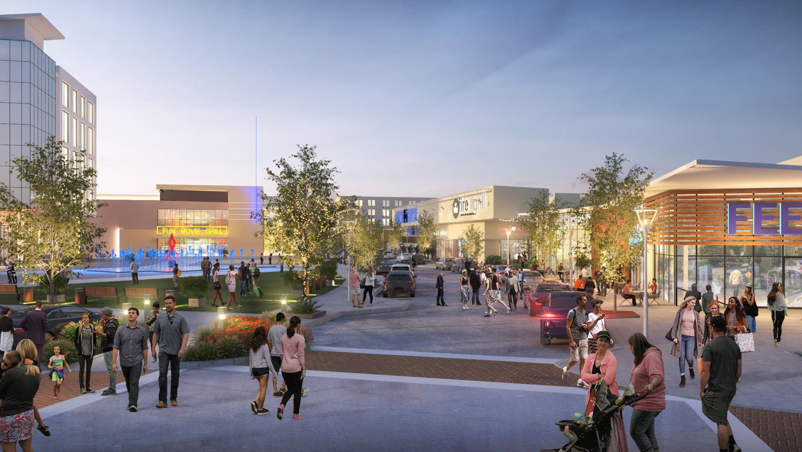 Along with Fun Movie Grill, Mustang Square includes retail, office and residential buildings.