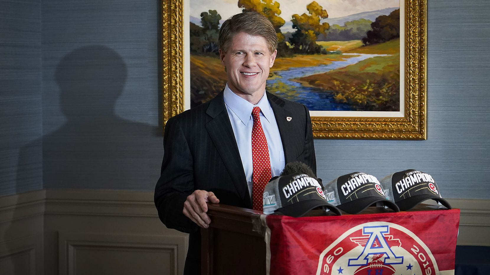 Clark Hunt, the Kansas Chiefs and FC Dallas Chairman and CEO, addresses a press conference Park City Club on Thursday, Jan. 23, 2020, in Dallas. (Smiley N. Pool/The Dallas Morning News)