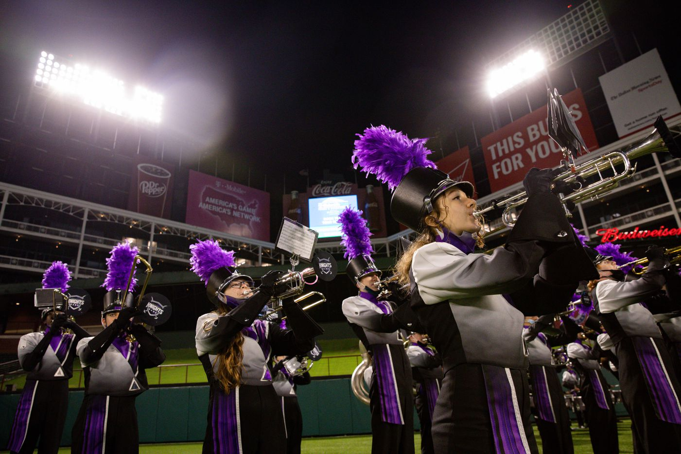 Frisco Independence's band prepares for halftime during the first half of a Class 5A Division I area-round playoff game against Highland Park at Globe Life Park in Arlington on Thursday, Dec. 17, 2020.  (Juan Figueroa/ The Dallas Morning News)