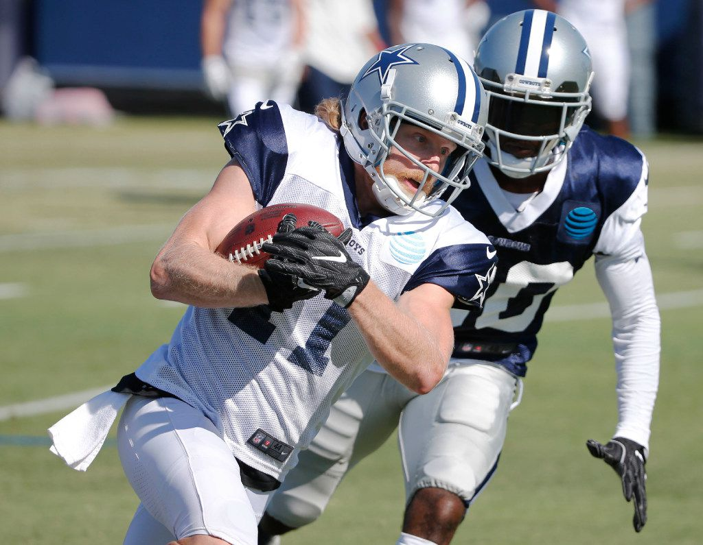 Dallas Cowboys wide receiver Cole Beasley (11) runs up the field as Dallas Cowboys cornerback Anthony Brown (30) chases after him during the afternoon practice at training camp in Oxnard, California on Wednesday, July 26, 2017. (Vernon Bryant/The Dallas Morning News)