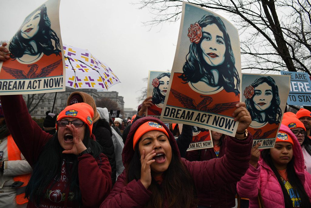 Immigration advocates demonstrated outside the Capitol on Feb. 7 in Washington, D.C.