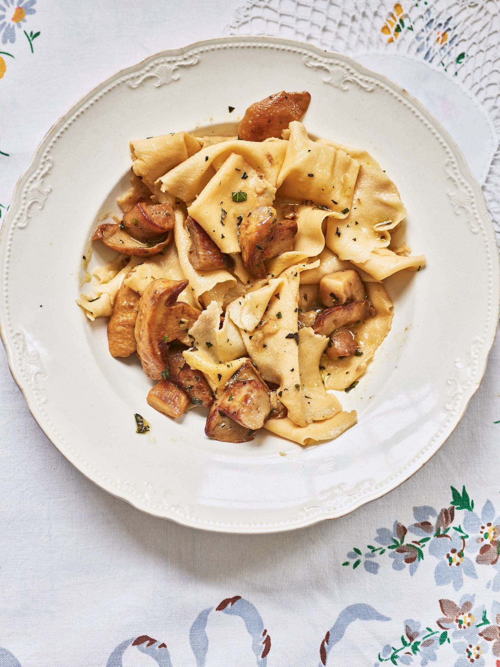 Marica's Strapponi with Porcini Mushrooms from 'Pasta Grannies: The Secrets of Italy's Best Home Cooks', by Vicky Bennison