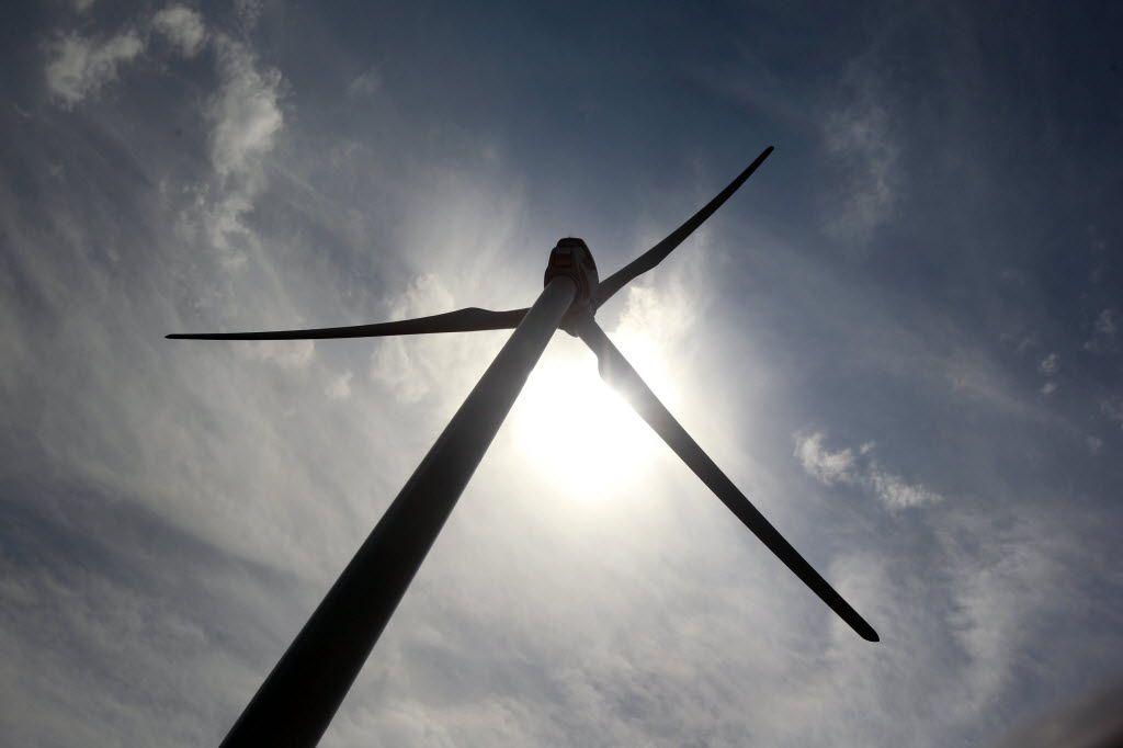 A Clipper Windpower turbine stands at BP's Trinity Hills Wind Farm near Olney.