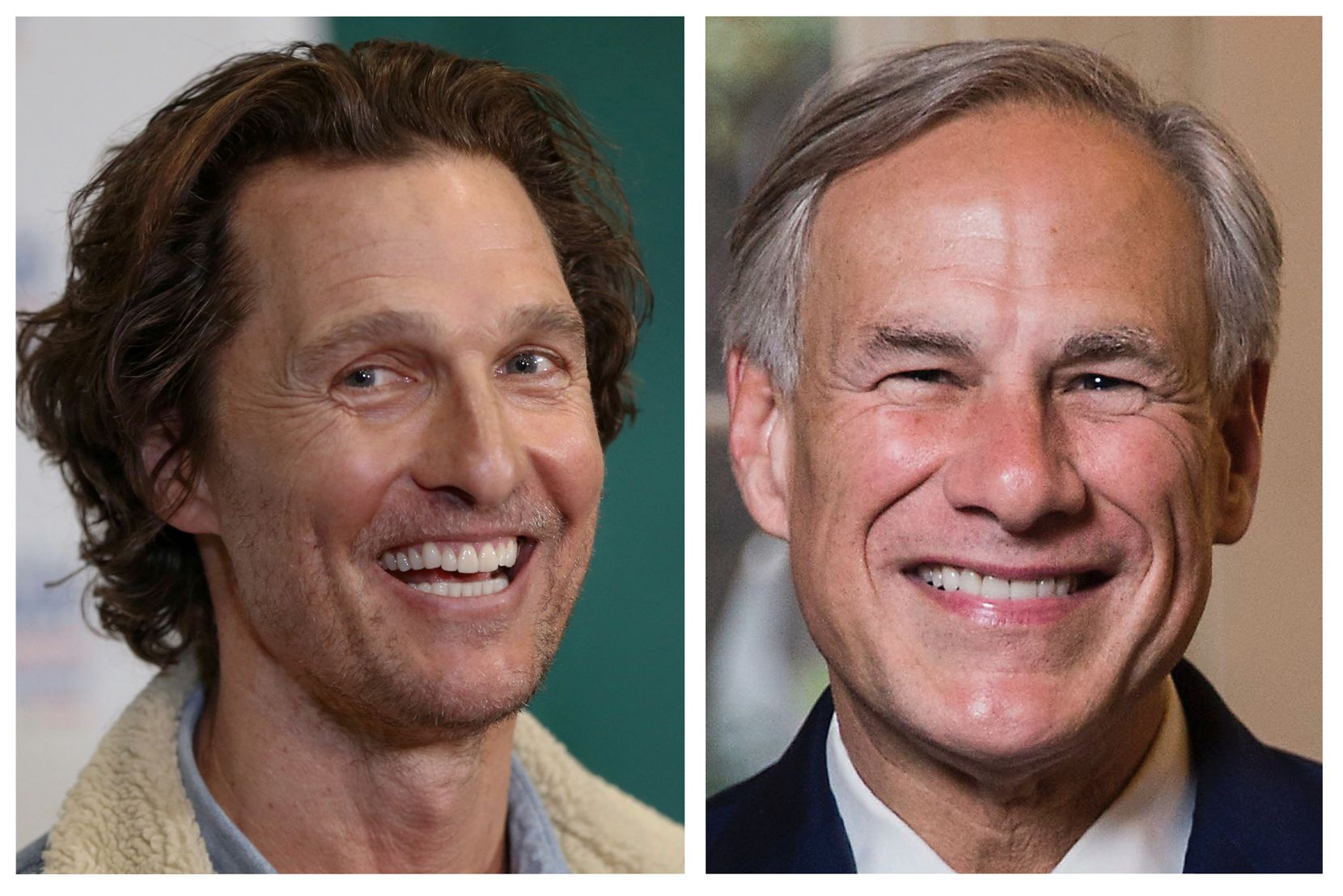Actor and author Matthew McConaughey and Texas Governor Greg Abbott.