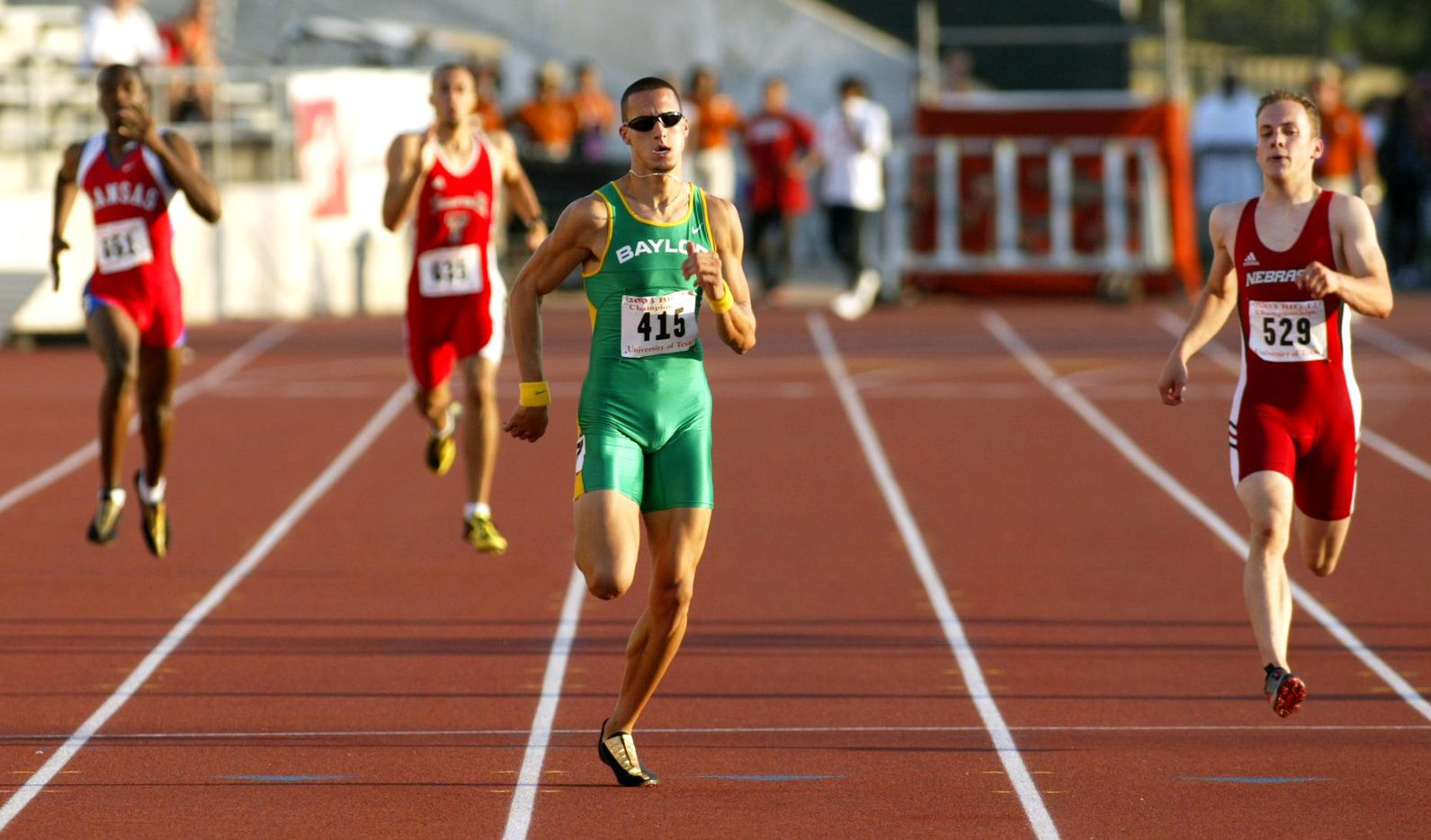 From 2003: Jeremy Wariner of Baylor (lane 7) wins his preliminary heat in the men's 400-meters at the Big IX Outdoor Track & Field Championships at Mike A. Myers Stadium in Austin Sunday.
