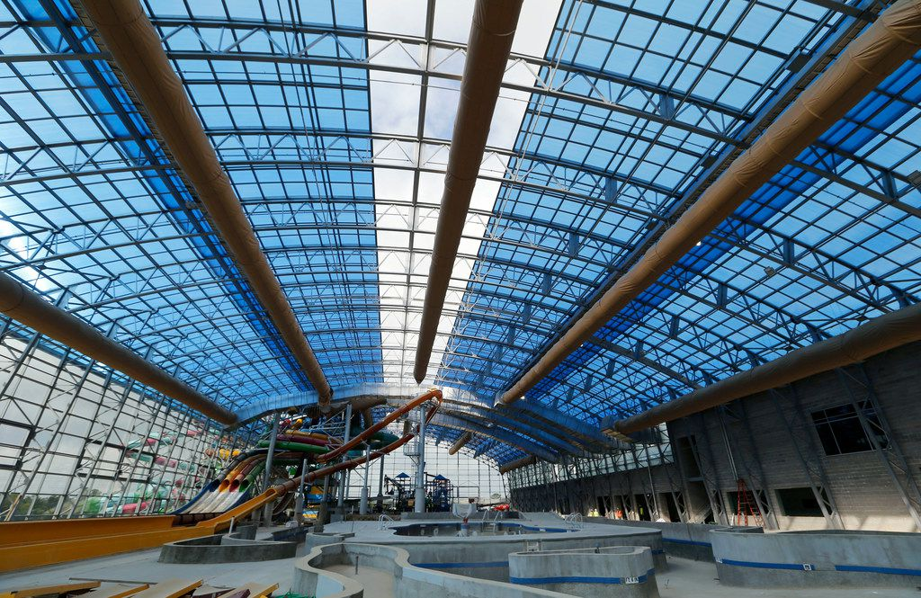 A view of the retractable roof as it closes at Epic Waters Indoor Waterpark in Grand Prairie on Tuesday, October 3, 2017. The park is still under construction and scheduled to open later this year. (Vernon Bryant/The Dallas Morning News)
