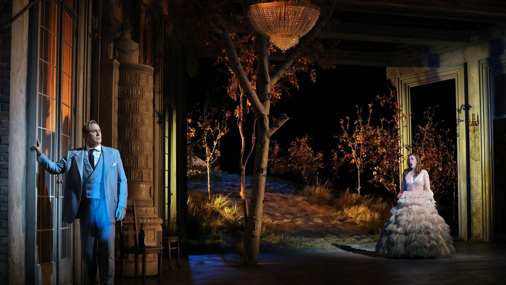 "Lucas Meachem (Eugene Onegin) and Sara Jakubiak (Tatyana) in 2021 Santa Fe Opera production of Tchaikovsky's ""Eugene Onegin."" Photograph by Curtis Brown/Santa Fe Opera."