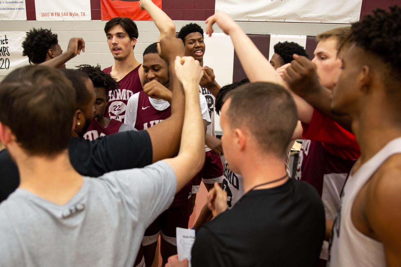 Wylie High School's mens basketball team break out a huddle during practice at Wylie High School on March 11, 2020 in Wylie, Texas. (Kara Dry/Special Contributor)