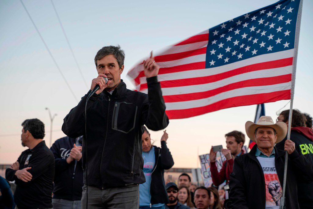 """Former Texas Congressman Beto O'Rourke speaks to a crowd of marchers during the """"March for Truth"""" in El Paso, Texas, on February 11, 2019. - The march took place at the same time as US President Donald Trump pushed his politically explosive crusade to wall off the Mexican border at a rally in El Paso. (Photo by Paul Ratje / AFP)PAUL RATJE/AFP/Getty Images"""