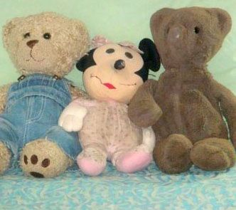Minnie Mouse (center), a beloved stuffed toy belonging to Leslie Cohn-Wein, has been a lifelong companion.