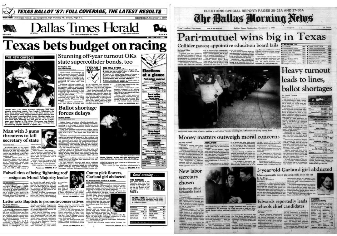 The Dallas Morning News and The Dallas Times Herald as they appeared Nov. 4, 1987.