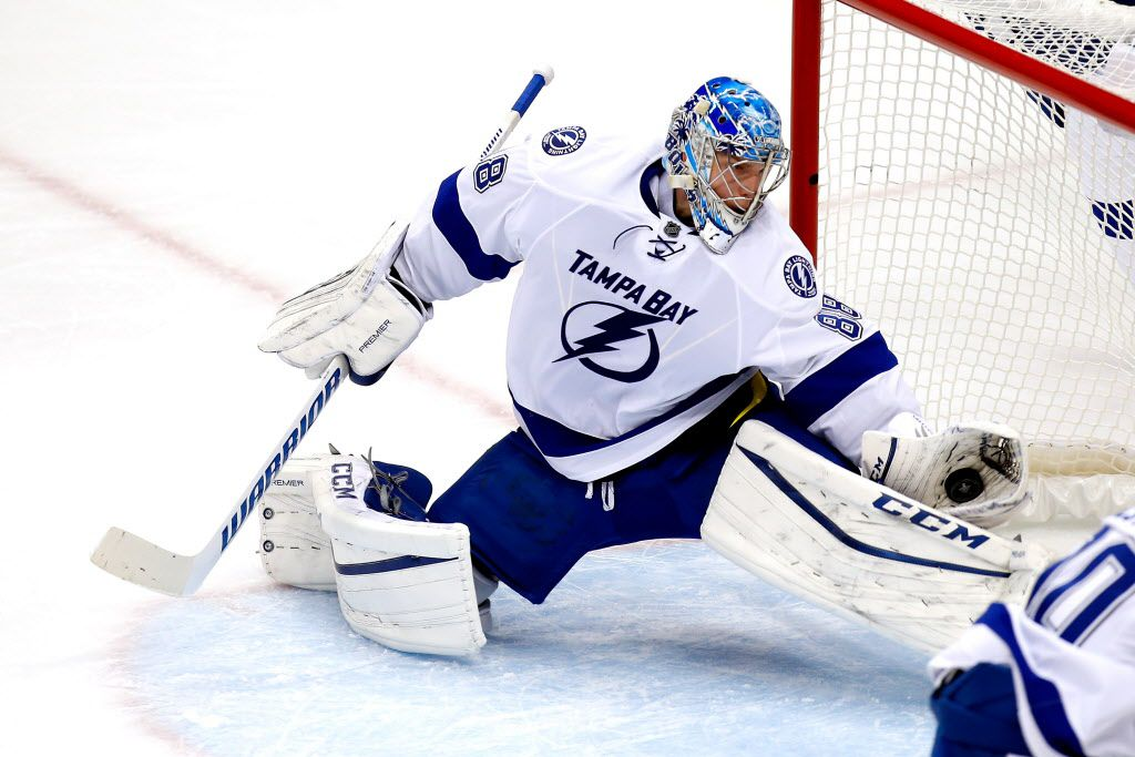 PITTSBURGH, PA - MAY 16:  Andrei Vasilevskiy #88 of the Tampa Bay Lightning makes a glove save during the first period against the Pittsburgh Penguins in Game Two of the Eastern Conference Final during the 2016 NHL Stanley Cup Playoffs at the Consol Energy Center on May 16, 2016 in Pittsburgh, Pennsylvania.  (Photo by Justin K. Aller/Getty Images)