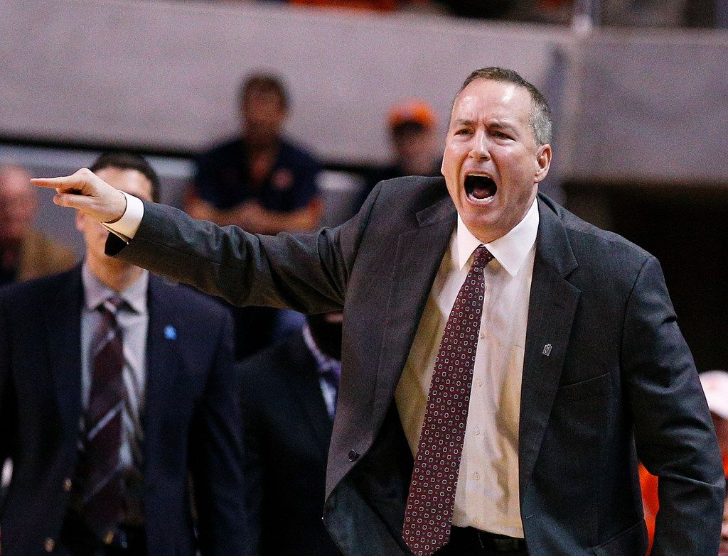 Texas A&M head coach Billy Kennedy reacts on the sidelines during the second half of an NCAA college basketball game against Auburn on Wednesday, Feb. 7, 2018, in Auburn, Ala. Texas A&M won 81-80. (AP Photo/Brynn Anderson)