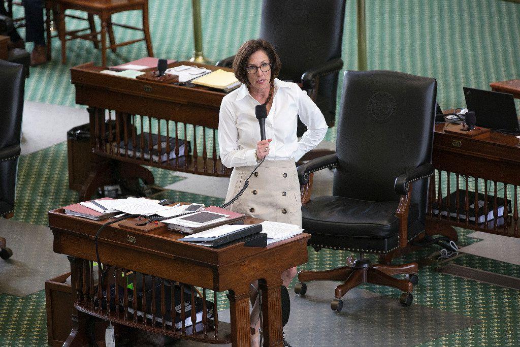 """Sen. Lois Kolkhorst, R-Brenham, discusses details of the """"bathroom bill"""" in the Senate."""