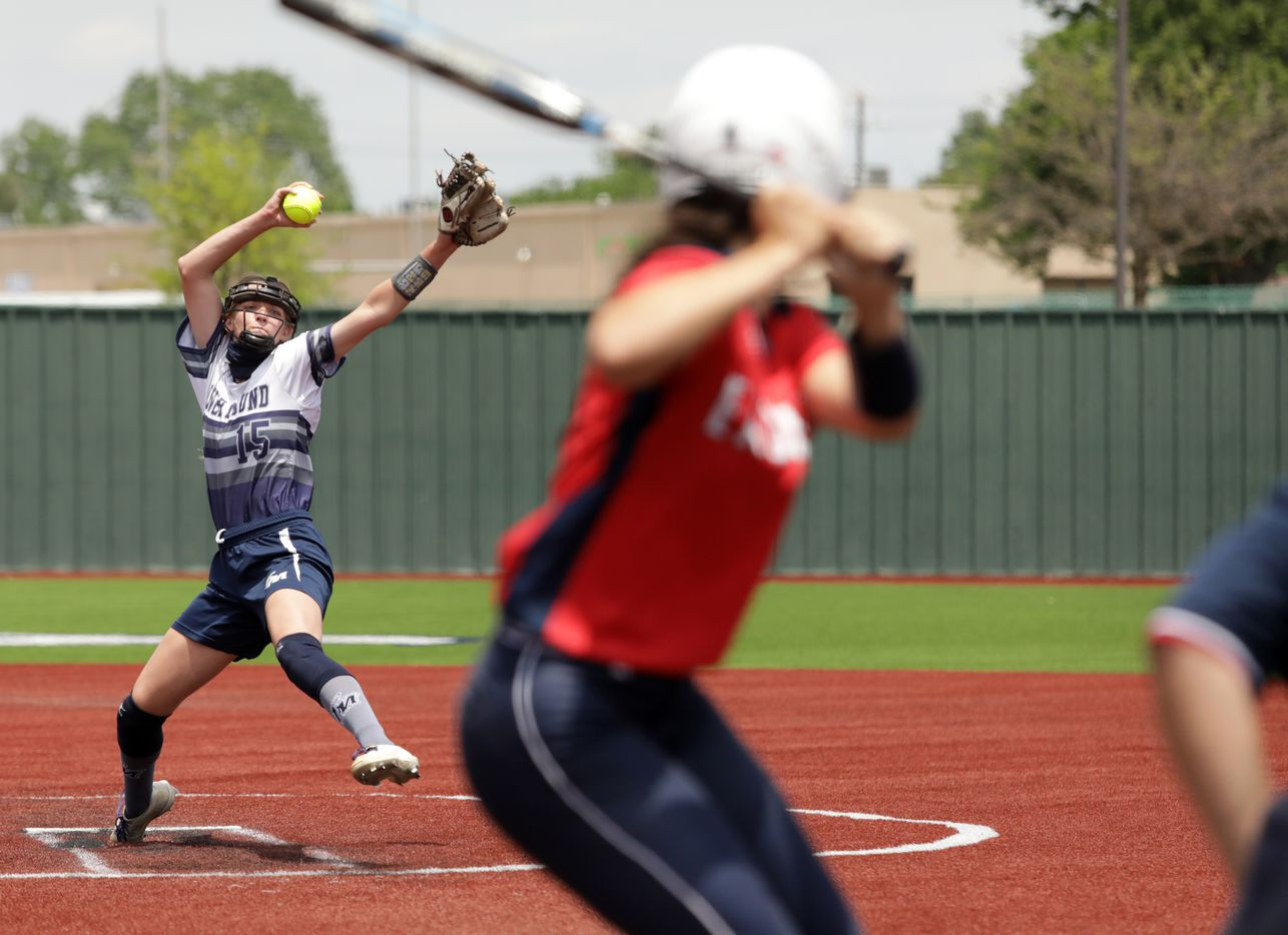 Flower Mound High School player #15, Landrie Harris, pitches to  Allen High School player #4, Sami Hood, during a softball game at Allen High School in Allen, TX, on May 15, 2021. (Jason Janik/Special Contributor)