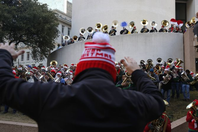 Hear holiday music performed by area tuba, sousaphone, euphonium and baritone players during TubaChristmas.