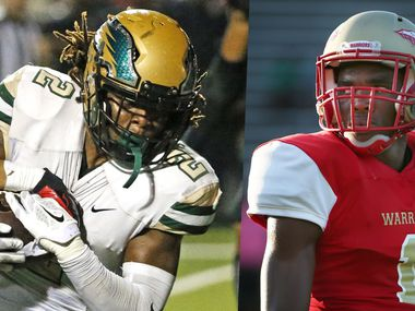 DeSoto's Laviska Shenault Jr. (left) and South Grand Prairie's Jeffrey Okudah in 2016.