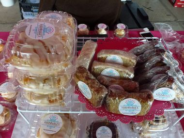 Hannah's Gluten-Free Bakery, based in Mesquite, sells delicious-looking cinnamon rolls and sweet breads at the Dallas Farmers Market.