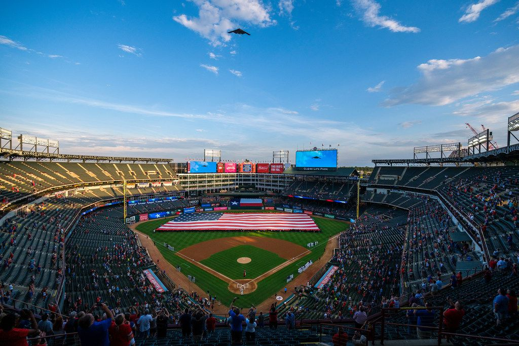 A B-2 Spirit based at Whiteman Air Force Base performs a flyover of Globe Life Park before a game between the Texas Rangers and the Tampa Bay Rays on Wednesday, Sept. 11, 2019, in Arlington. (Smiley N. Pool/The Dallas Morning News)