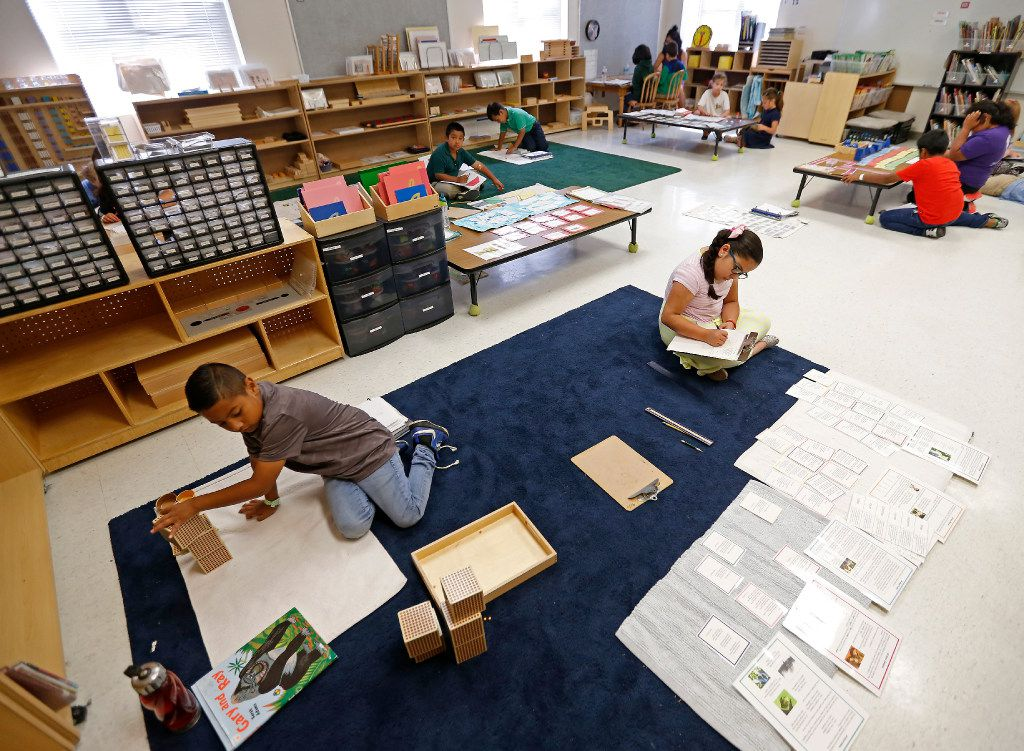 Students work on their classwork during a Lower Elementary Dual Language class at Mata Montessori in Dallas. (Jae S. Lee/The Dallas Morning News)
