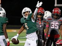 DeSoto senior wide receiver Stephon Johnson Jr. (6) celebrates a big gain against Cedar Hill during the second half of a high school football game on Friday, Oct. 15, 2021 at Eagle Stadium in DeSoto, Texas. DeSoto won 45-0. (Jeffrey McWhorter/Special Contributor)