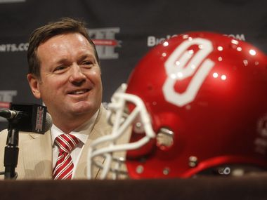 Oklahoma football coach Bob Stoops speaks during the Big 12 media days at the Omni Hotel in Downtown Dallas, Texas, on July 23, 2013.