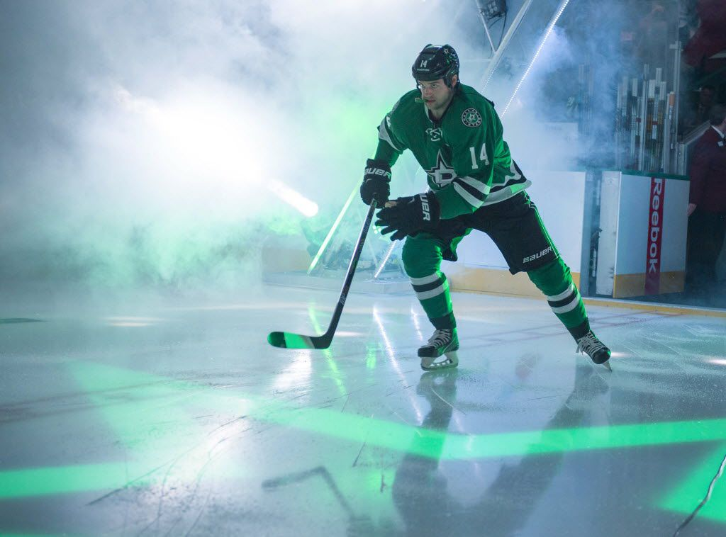 Mar 12, 2016; Dallas, TX, USA; Dallas Stars left wing Jamie Benn (14) takes the ice to face the St. Louis Blues at the American Airlines Center. Mandatory Credit: Jerome Miron-USA TODAY Sports