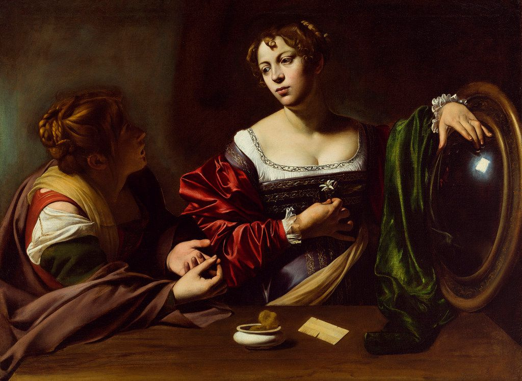 Martha and Mary Magdalene, by Old Master painter Michelangelo Merisi da Caravaggio, circa 1598, oil and tempera on canvas. The painting is on loan to the Dallas Museum of Art from the Detroit Institute of Arts and is on view June 23 Sept. 22, 2019. The painting was a gift of the Kresge Foundation and Mrs. Edsel B. Ford.