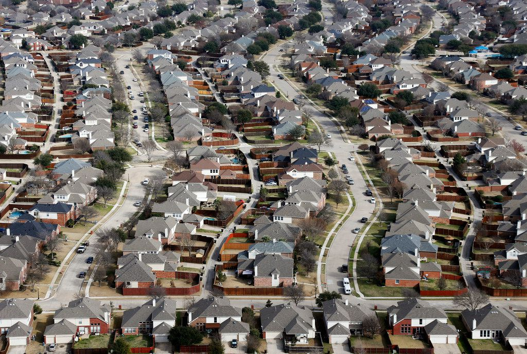 Homes in Plano, Texas on Friday, February 15, 2019. Texas gained about 4.5 million residents between 2010 and 2020.