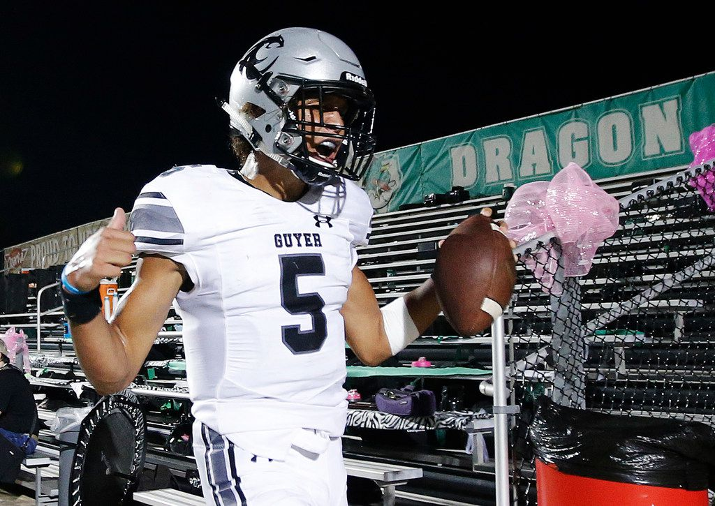 FILE - Denton Guyer sophomore quarterback Eli Stowers (5) celebrates scoring a touchdown during the first half of a high school football game against Southlake Carroll at Dragon Stadium in Southlake, Friday, October 5, 2018. (Brandon Wade/Special Contributor)