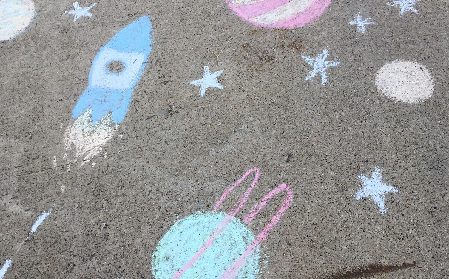 This sidewalk chalk drawing inspired writer Leslie Barker on her morning runs.