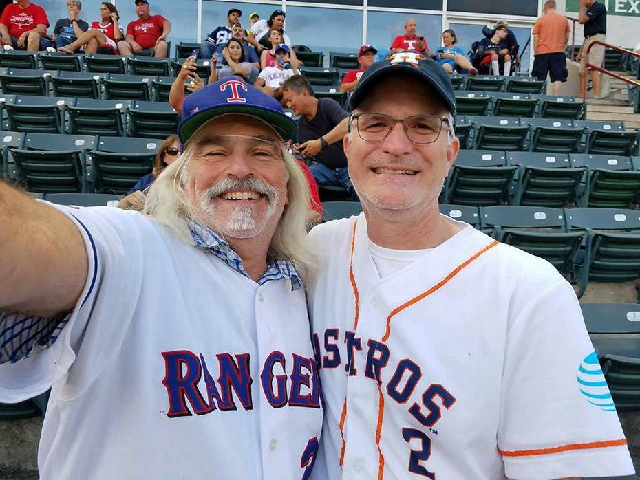Dallas Morning News multiplatform editor Frank L. Christlieb (right) and Rangers fan friend Jeff Rubinett saw the Astros play the Rangers at Globe Life Park in late September. The Astros won the series opener 11-2 that night on their way to a three-game sweep in which they outscored the Rangers 37-7. (Jeff Rubinett)