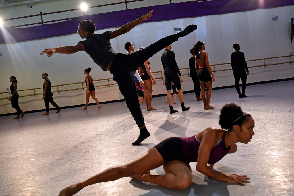 Kayah Franklin, bottom, and Zion Pradier rehearse Tommie-Waheed Evans' Bodies as Site of Faith and Protest, which the Philadelphia choreographer created using the music, speeches and violence of the civil rights era.