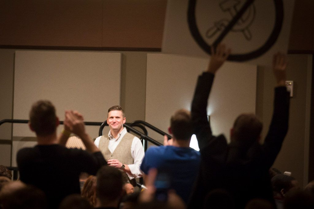 "Supporters cheered as ""alt-right"" leader Richard Spencer arrived to speak at the Memorial Student Center at Texas A&M University in College Station in December. (File Photo/Smiley N. Pool)"