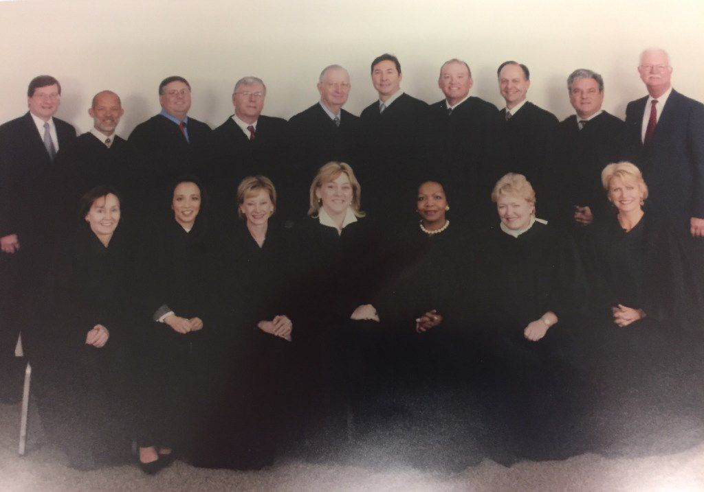Dallas County's felony court judges, circa 2005. Faith Johnson is on the front row, third from the right. Former District Attorney Susan Hawk, who resigned three months ago, is in the front row, first from the right. John Creuzot, who's running as a Democrat for district attorney in 2018, is on the back row, second from the right.