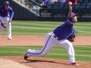 Texas Rangers pitcher Matt Bush delivers during the fourth inning of a spring training game against the Cleveland Indians at Surprise Stadium on Tuesday, March 9, 2021, in Surprise, Ariz.