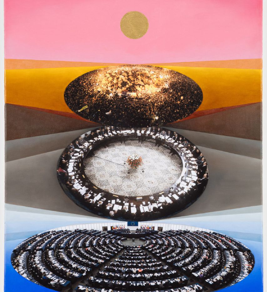 ANNA OSTOYA  Ovals, 2016  Oil, acrylic, archival inkjet print and gold leaf on canvas  24 x 20 in / 61 x 50.8 cm.i The Dallas Art Fair is pleased to announce that the ninth edition of the fair will take place from April 6 through April 9 at the Fashion Industry Gallery (F.I.G.).