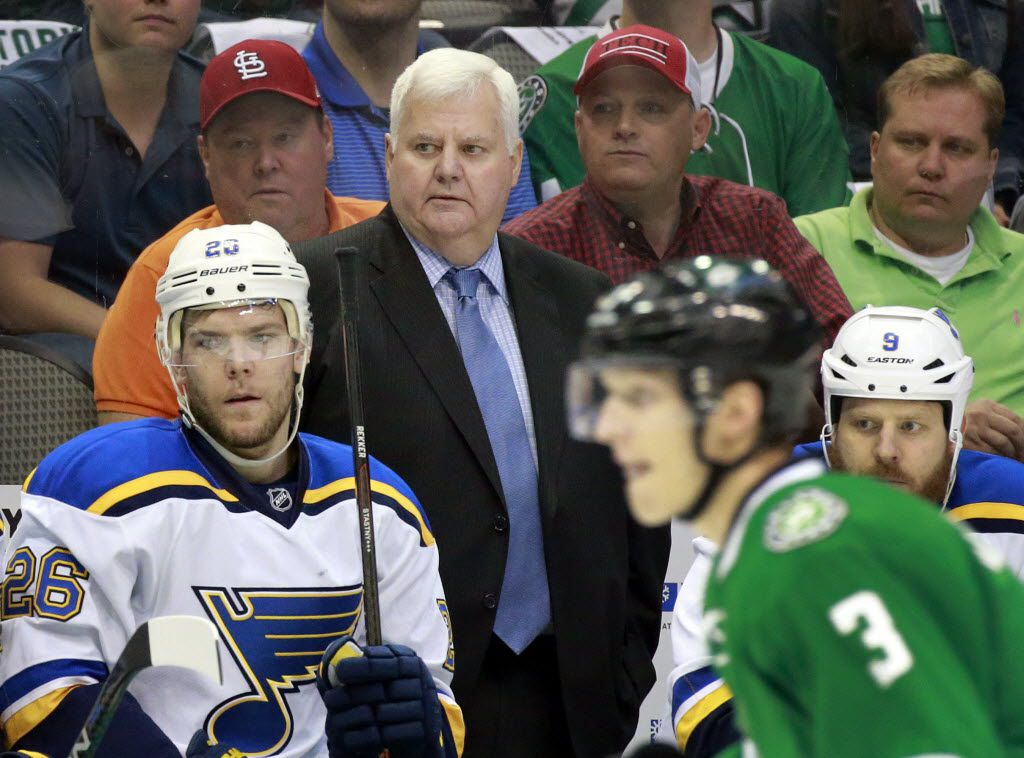 St. Louis Blues head coach Ken Hitchcock watches his team face the Dallas Stars during the first period in Game 1 of the Western Conference Semifinals at the American Airlines Center in Dallas, Friday, April 29, 2016.  Hitchcock was the Stars coach when won the Stanley Cup. (Tom Fox/The Dallas Morning News)