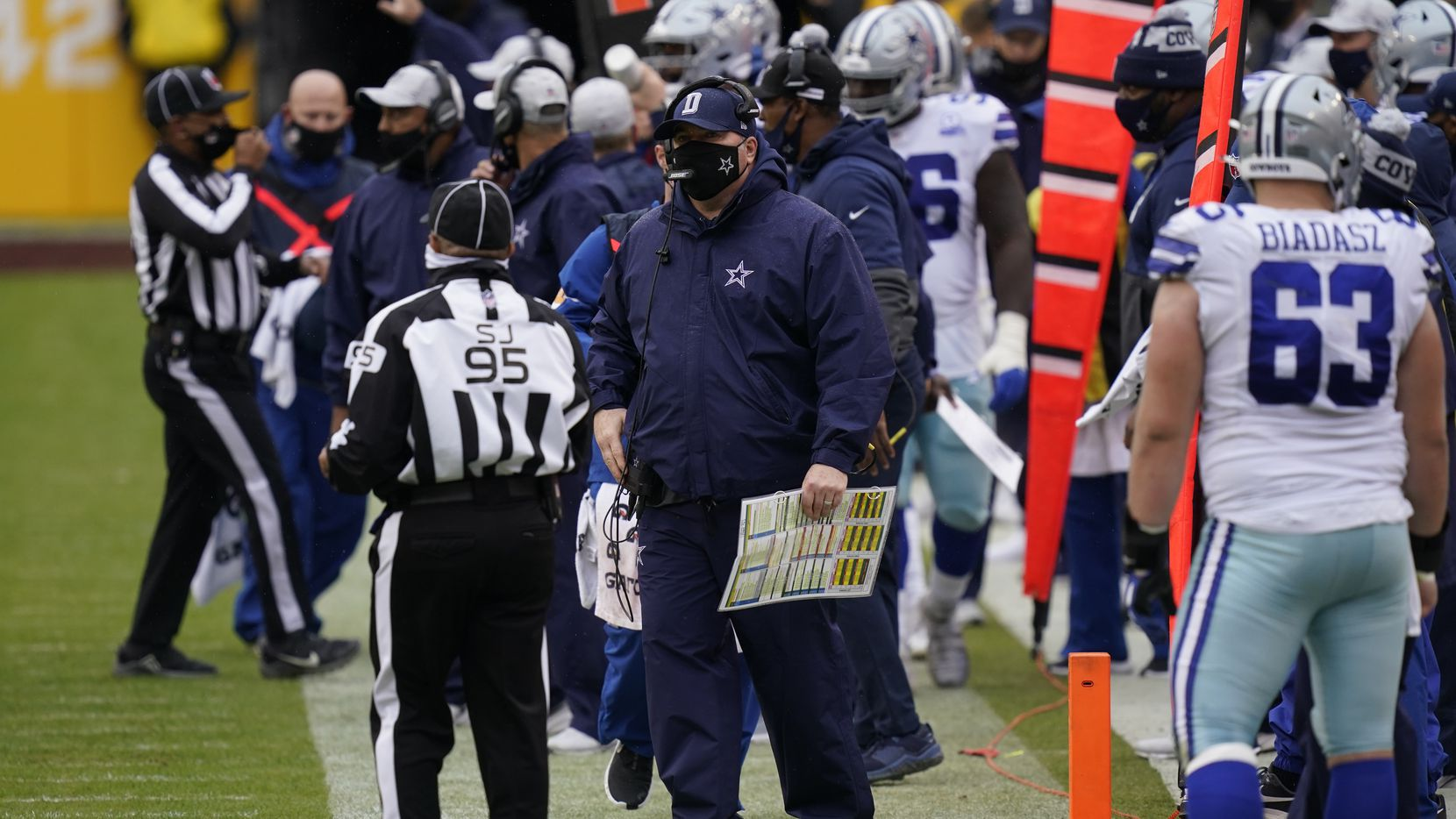 Dallas Cowboys head coach Mike McCarthy on the sidelines in the first half of an NFL football game against Washington Football Team, Sunday, Oct. 25, 2020, in Landover, Md.