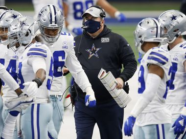 Dallas Cowboys head coach Mike McCarthy makes his way up the sidelines in a game against the Cleveland Browns during the first quarter of play at AT&T Stadium in Arlington, Texas on Saturday, October 4, 2020.