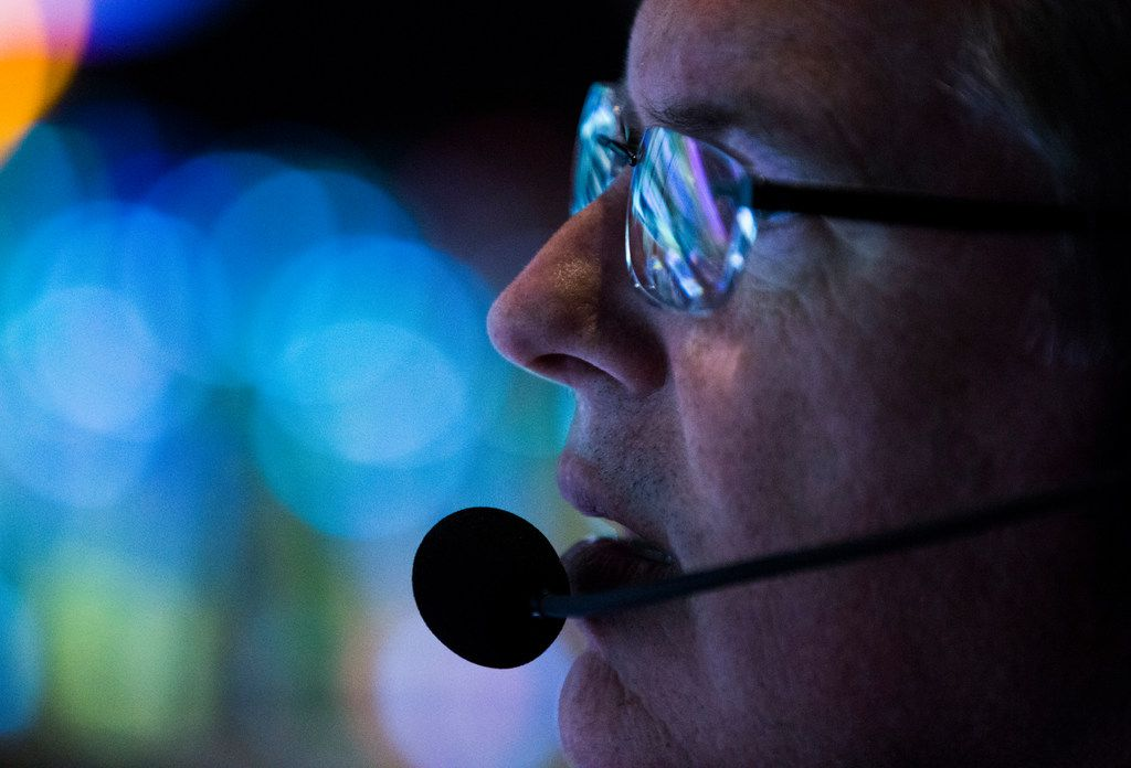 FOX Sports' Chuck McDonald works in the control room during an XFL game between the Dallas Renegades and the New York Guardians on Saturday, March 7, 2020 at Globe Life Park in Arlington. (Ashley Landis/The Dallas Morning News)