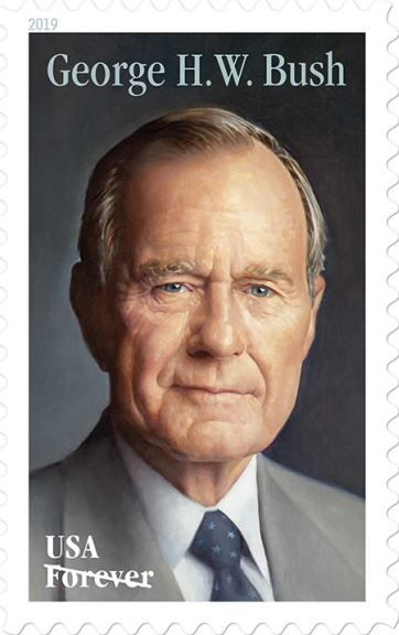 A U.S. Postal Service stamp commemorating former President George H.W. Bush is a portrait painted by artist Michael J. Deas and based on a 1997 photo.