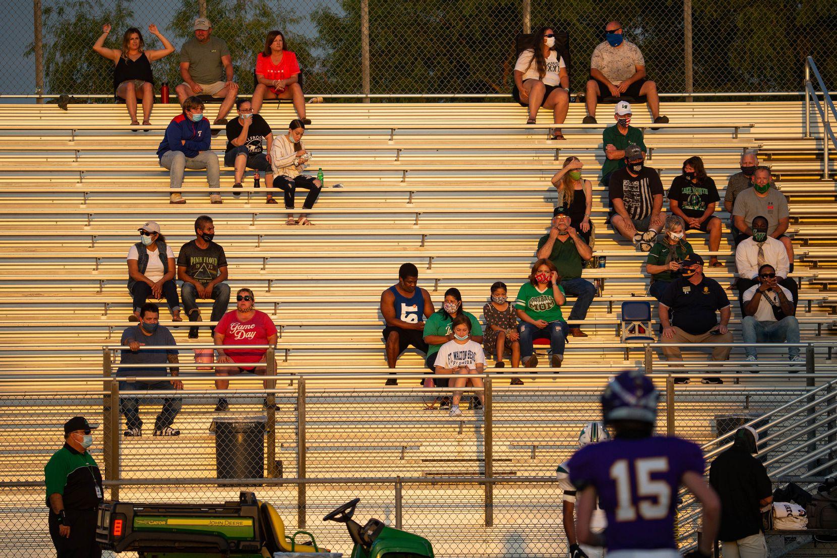 Lake Worth High School Fans wait for start of a game against Sanger on Sept. 4, 2020 in Sanger. Sanger leads 26-14 at halftime. (Juan Figueroa/ The Dallas Morning News)