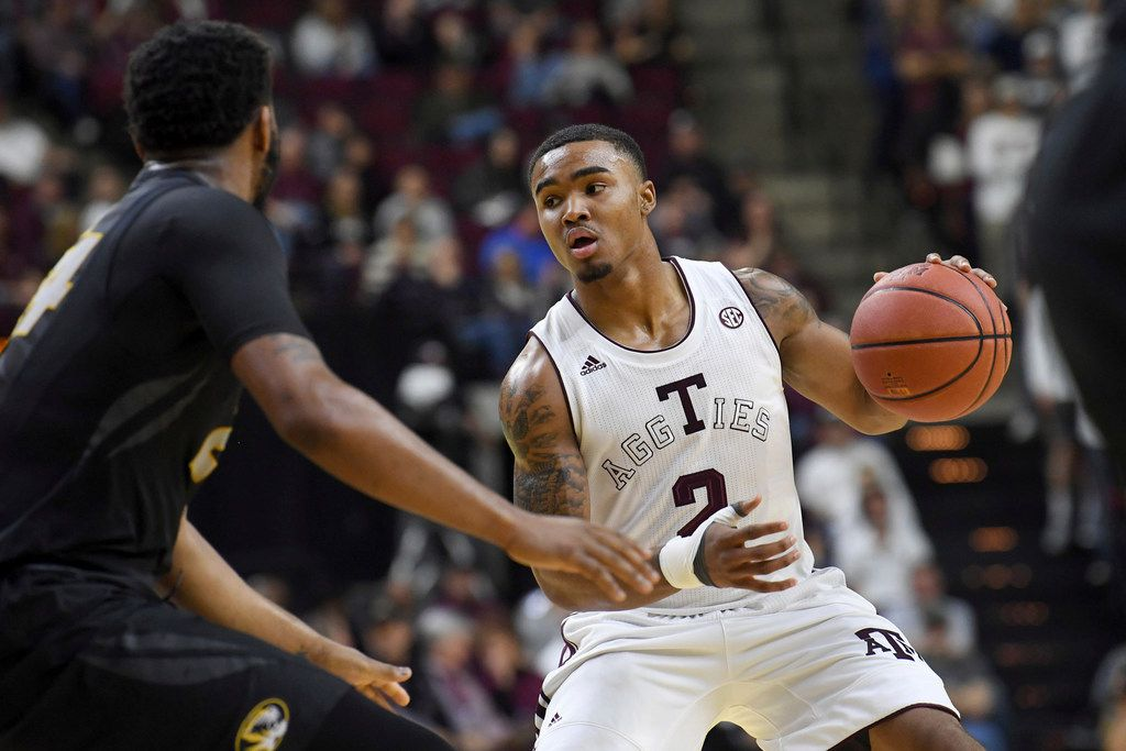 Texas A&M's TJ Starks (2) looks for an opening to the basket during a game against Missouri on Saturday, Jan. 20, 2018, in College Station. (Laura McKenzie /College Station Eagle via AP)