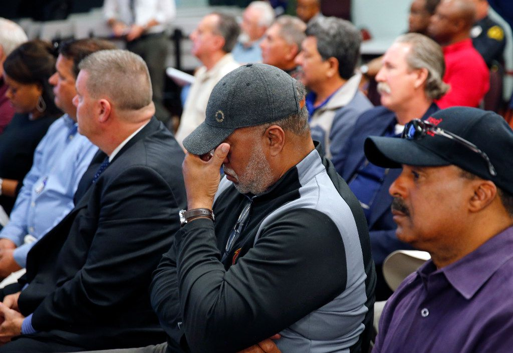 Lingburge Williams reflects on a friend that recently passed away as he and other Dallas Police and Fire Pension System members watch a series of videos created to help citizens better understand the issues and the livelihoods of those at stake in the funding debate, Wednesday, March 8, 2017. The five-video series profiles the personal stories of six active and retired Dallas first responders. (Tom Fox/The Dallas Morning News)