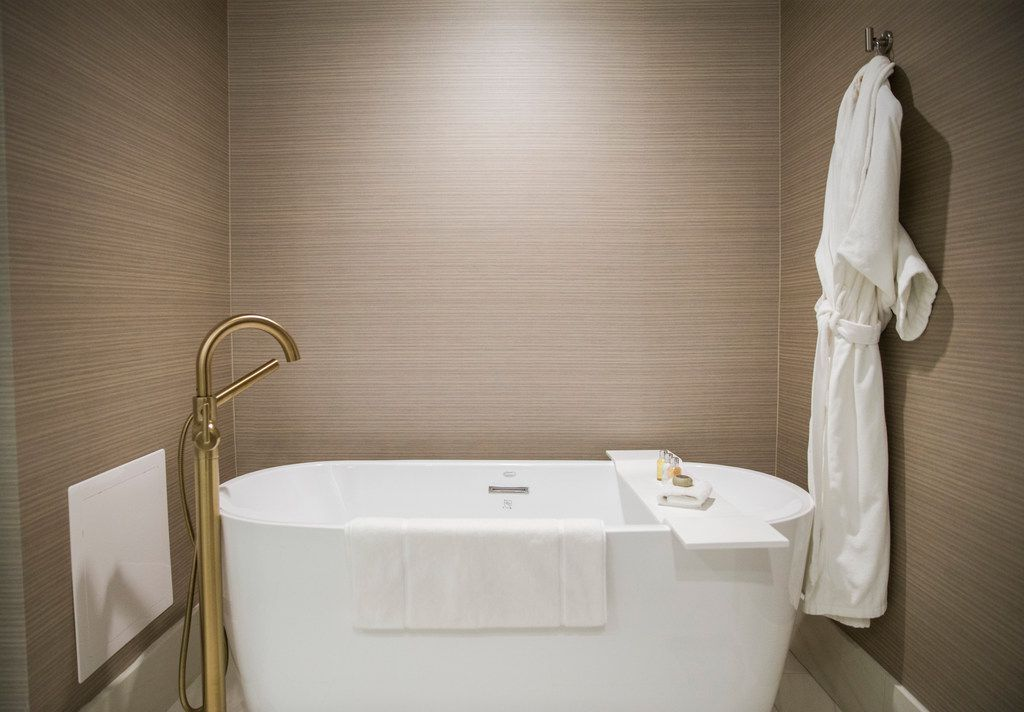 A bathtub in a Crescent Suite at Hotel Crescent Court in Dallas on Monday, June 18, 2018. The hotel was recently renovated. (Ashley Landis/The Dallas Morning News)