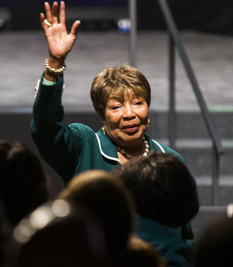 U.S. Representative Eddie Bernice Johnson waves to the crowd before President Barack Obama speaks at a Democratic National Committee event at Gilley's Club Dallas on Saturday, March 12, 2016 in Dallas.   (Ashley Landis/Staff Photographer)