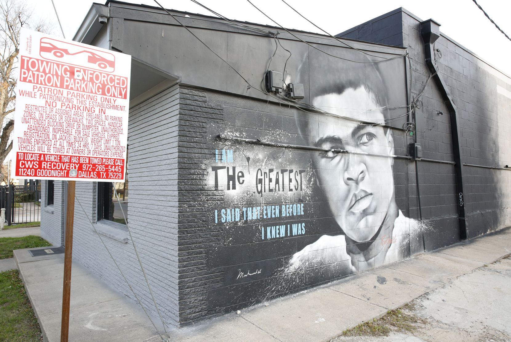 A mural of Muhammad Ali painted by Theo Ponchaveli was on the side of a building off Commerce Street near the unofficial graffiti park in West Dallas on Dec. 6, 2019. Theo is a muralist — what some consider the highest rank of spray-can artist.