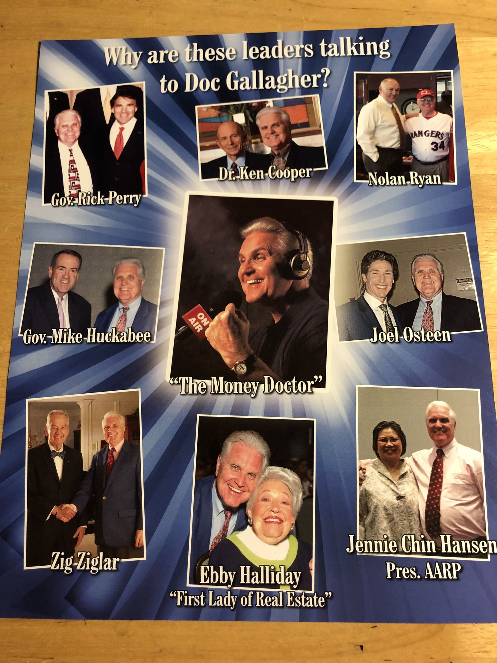 This one-sheet picked up by The Dallas Morning News Watchdog in a 2016 financial seminar shows the accused radio show host photographed with a who's who of Texas notables.
